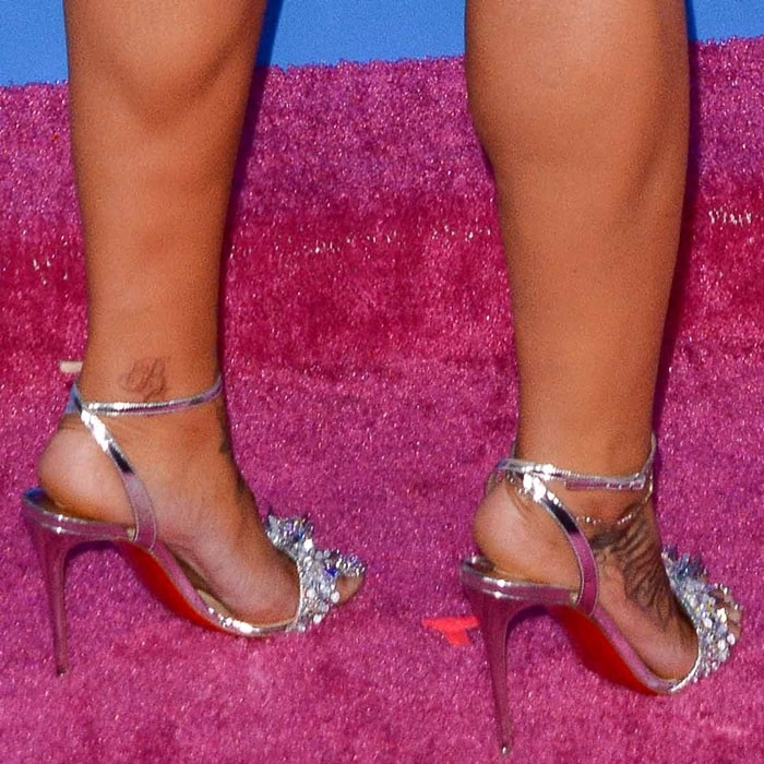 Blac Chyna shows off her feet in bejeweled Okydok sandals