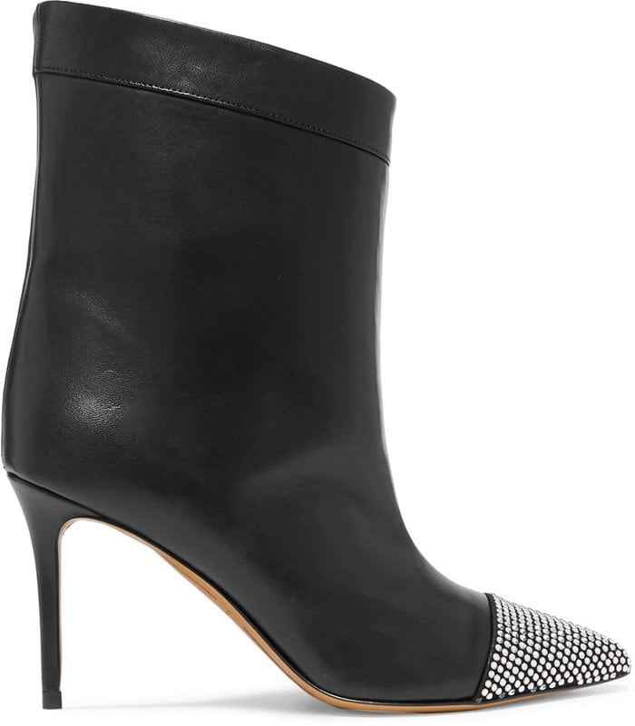 Black 'Cha Cha' crystal-embellished leather ankle boots