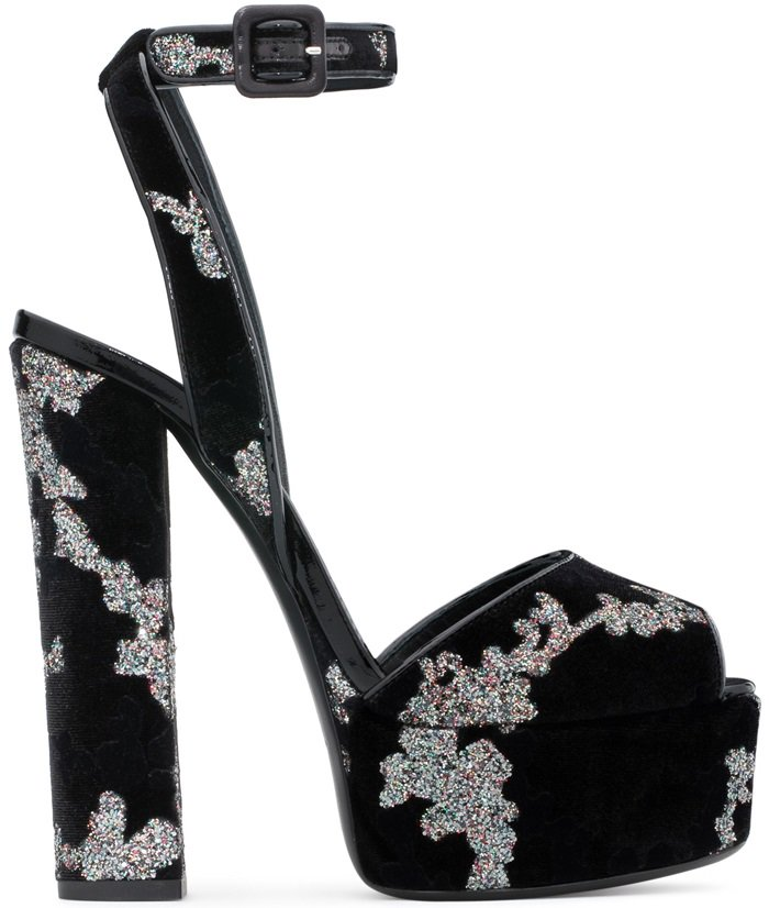 Black Velvet Betty Sandals With Platform