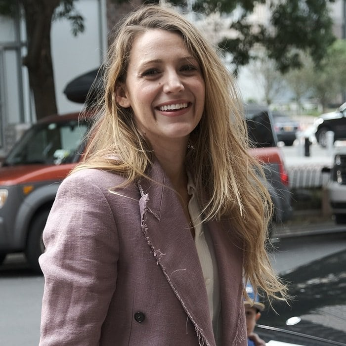 Blake Lively was in good spirits when returning to her hotel in New York City on August 20, 2018