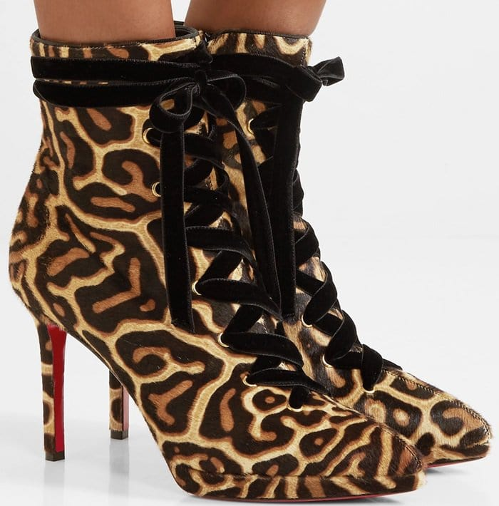 These ankle boots blend this season's animal print trend with a touch of sportiness