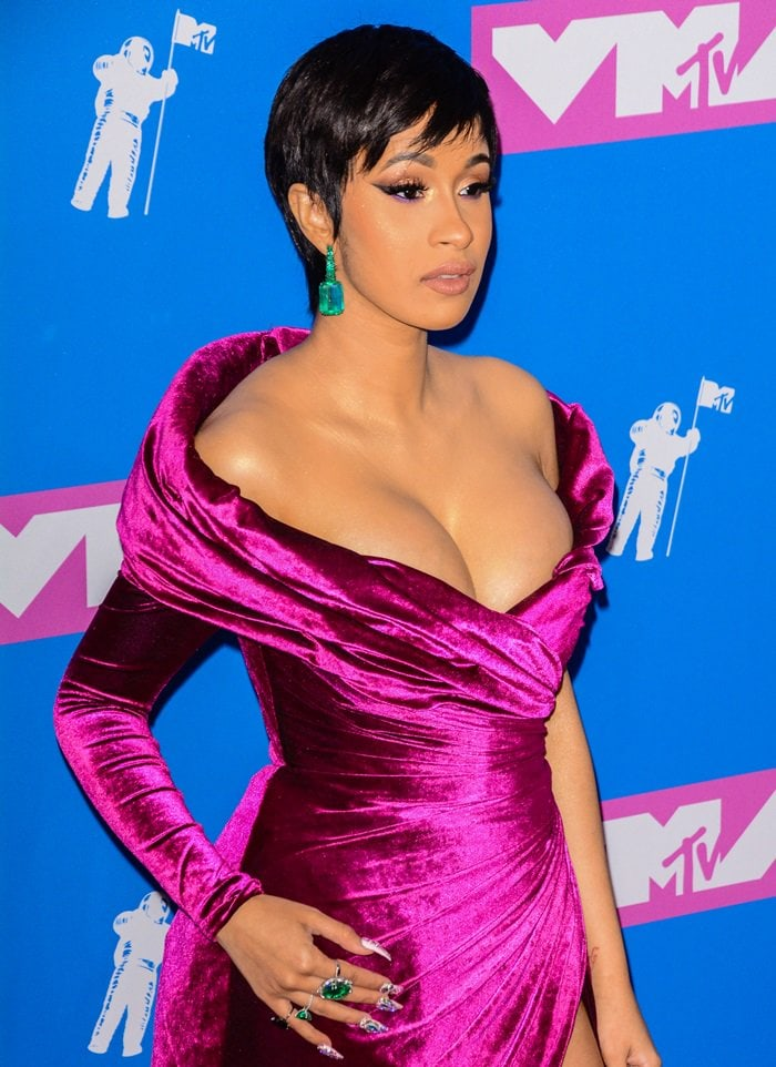 Cardi B sported a black pixie cut at the 2018 MTV Video Music Awards held at Radio City Music Hall in New York City on August 20, 2018