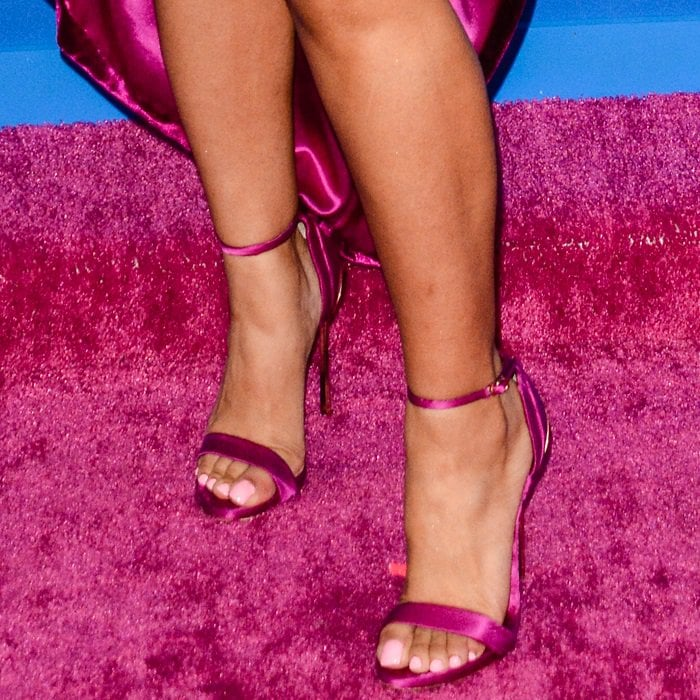 Cardi B shows off her feet in Casadei sandals
