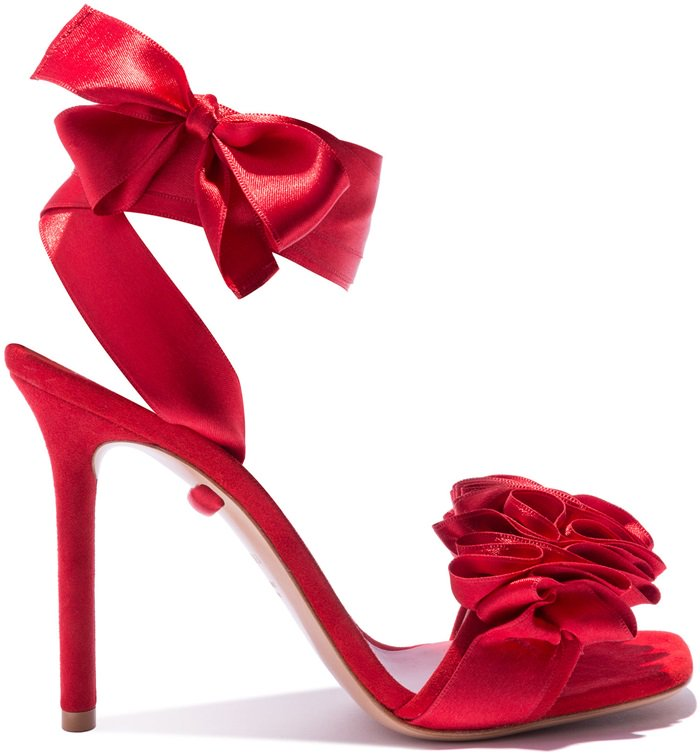 Ruffled Red Satin Sandals