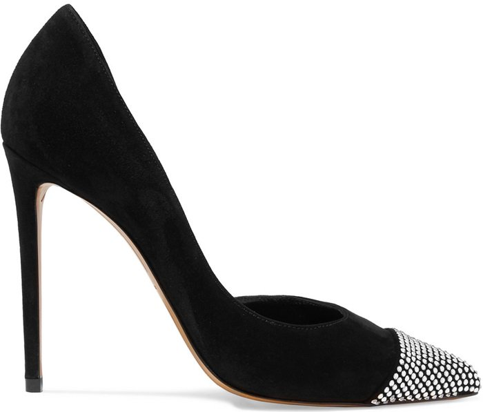 Black 'Cha Cha' crystal-embellished suede pumps