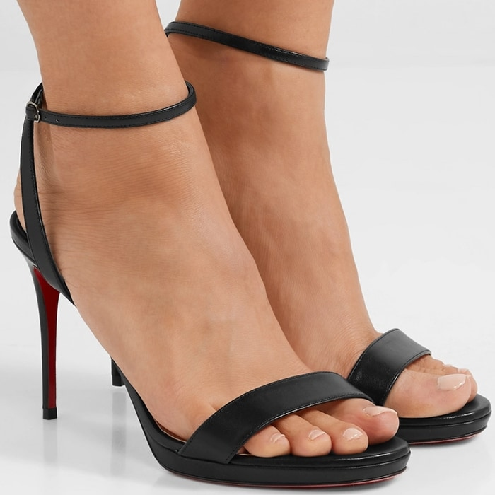 Christian Louboutin's 'Loubi Queen' sandals have a slender ankle strap that's a reference to chokers worn by French cabaret dancers