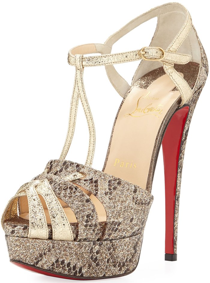 Brown Christian Louboutin 'Glennalta' Glitter T-Strap 150mm Red Sole Sandals