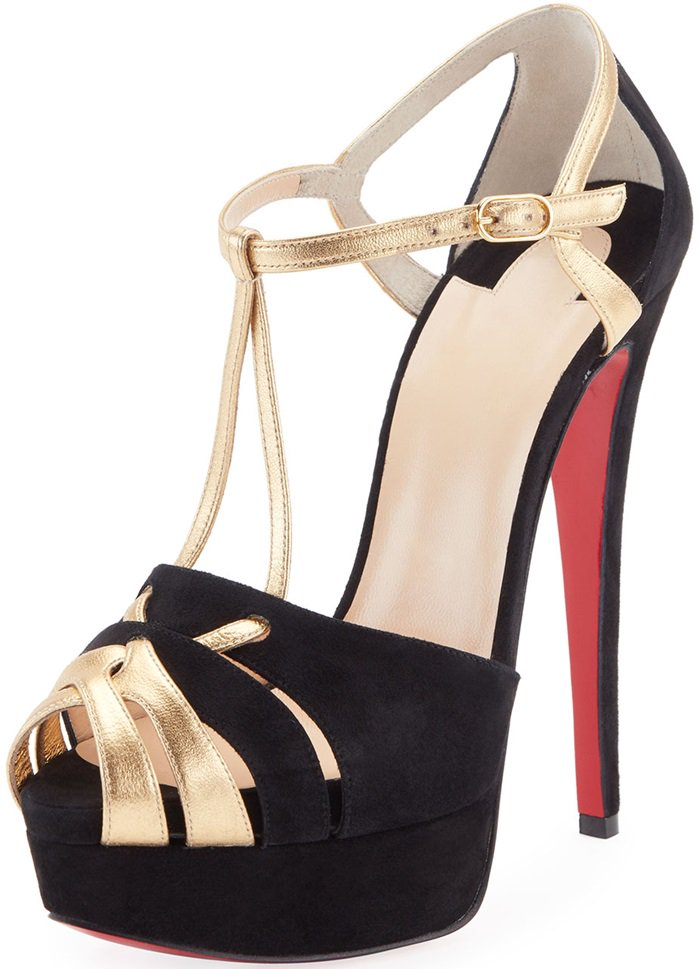 Christian Louboutin 'Glennalta' Suede/Metallic Red Sole T-Strap Sandals