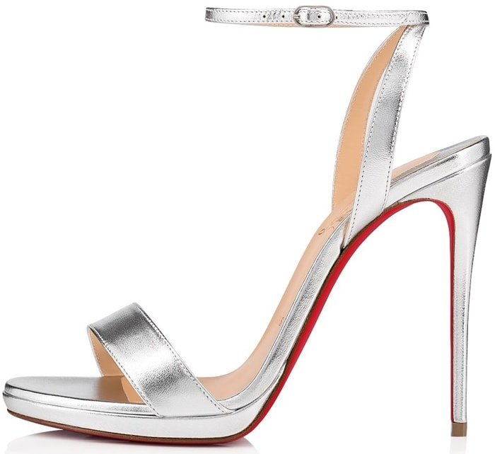 "Christian Louboutin ""Loubi Queen Laser"" holographic leather sandal"
