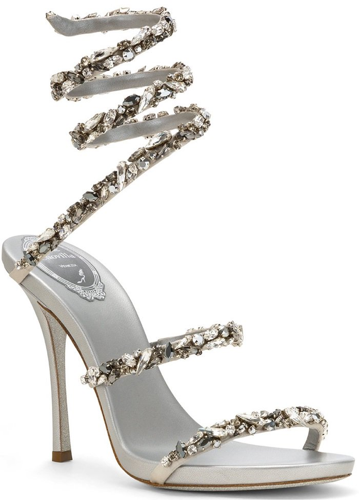 Bejewelled sandal in grey satin embellished with large tonal rhinestones