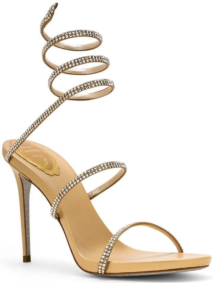 Cleo Crystal-Embellished Leather Sandals