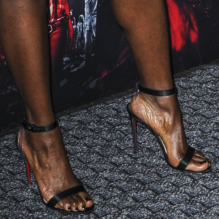 Danai Gurira shows off her feet in transparent Jonatina PVC clear heel strap sandals