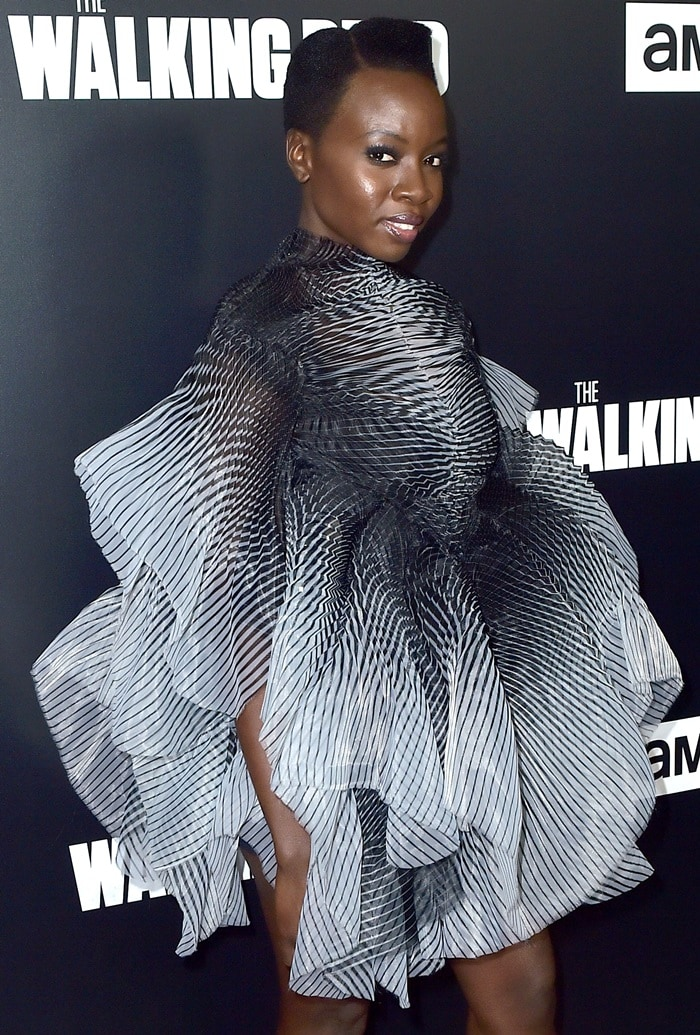 Danai Gurira in a bold dress from the Iris Van Herpen Fall 2017 Couture Collection