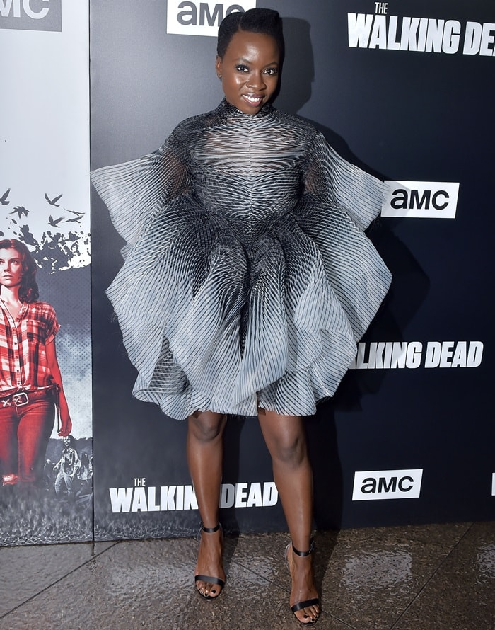 Danai Gurira flaunts her legs while attending a screening of The Walking Dead's season nine premiere in Los Angeles on September 27, 2018
