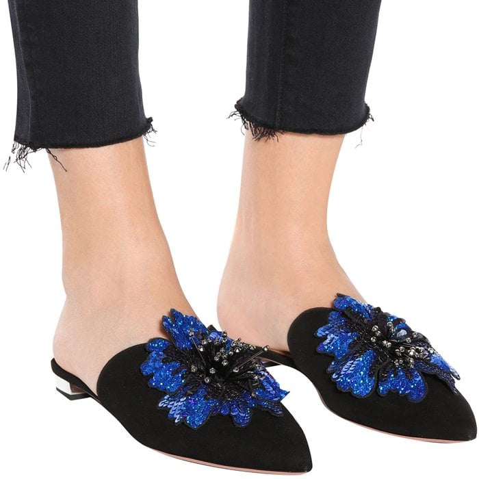 Black Disco Flower suede slippers