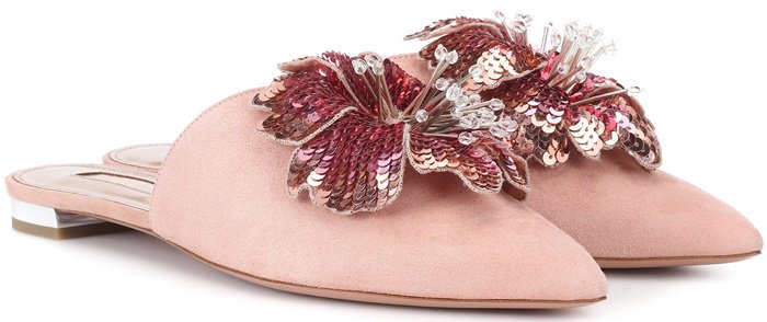 Blush Pink Disco Flower suede slippers