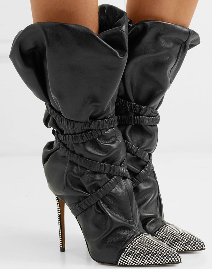 First spotted on the Spring '18 runway at Paris Couture Week, these boots are made from supple black leather in a slouchy silhouette that's cinched with wraparound elasticated bands