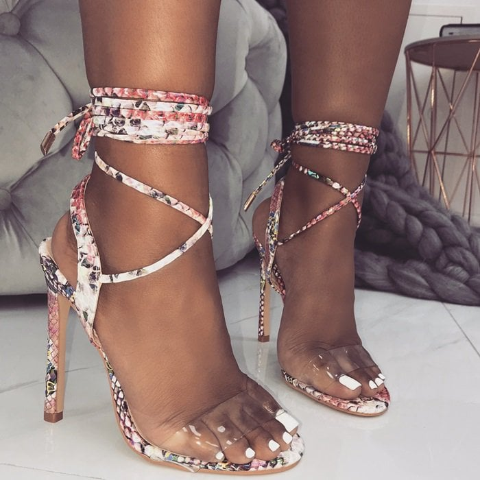 Ella Clear Lace Up Heels