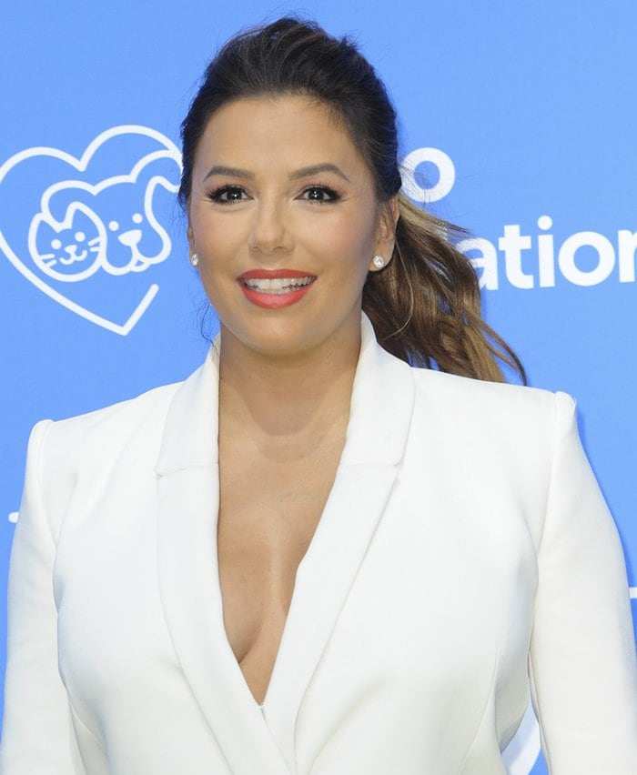 Eva Longoria in a white blazer dress from the Mario Dice Fall 2015 Collection at the premiere of her new movie Dog Days at the Westfield Century City Theater in Century City, California, on August 5, 2018