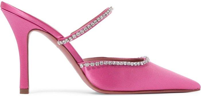 Pink 'Gilda' Swarovski crystal-embellished mules