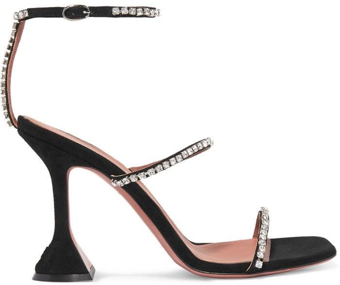 Black 'Gilda' Swarovski crystal-embellished suede sandals
