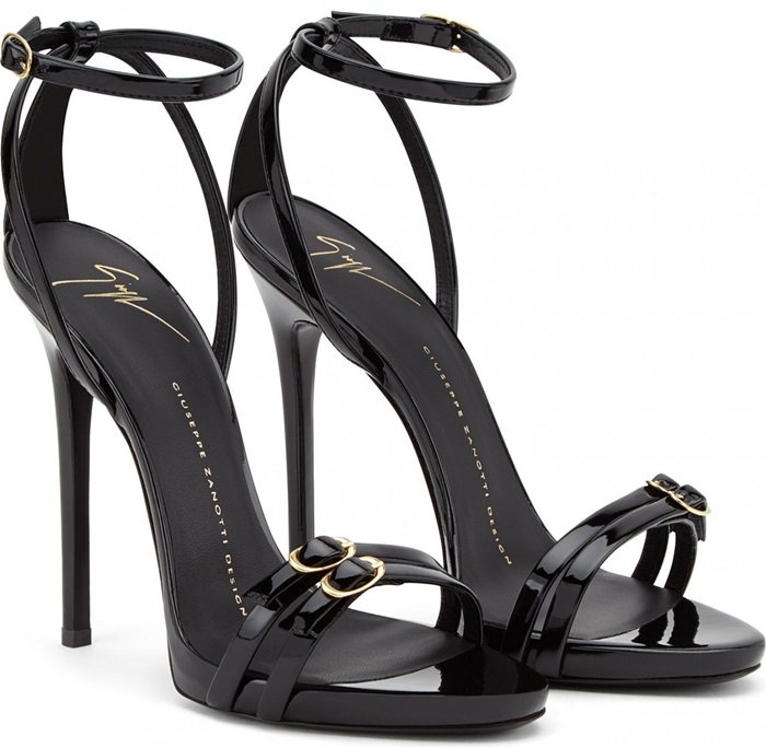 Black Patent Leather Sandal with Gold Buckles