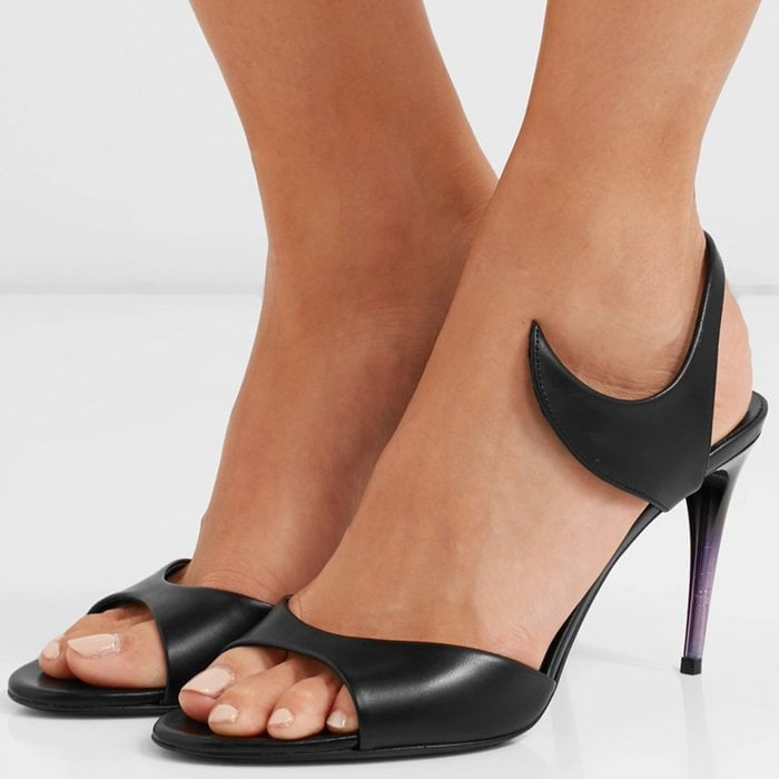 These smooth black leather sandals rest on a purple and black 90mm heel