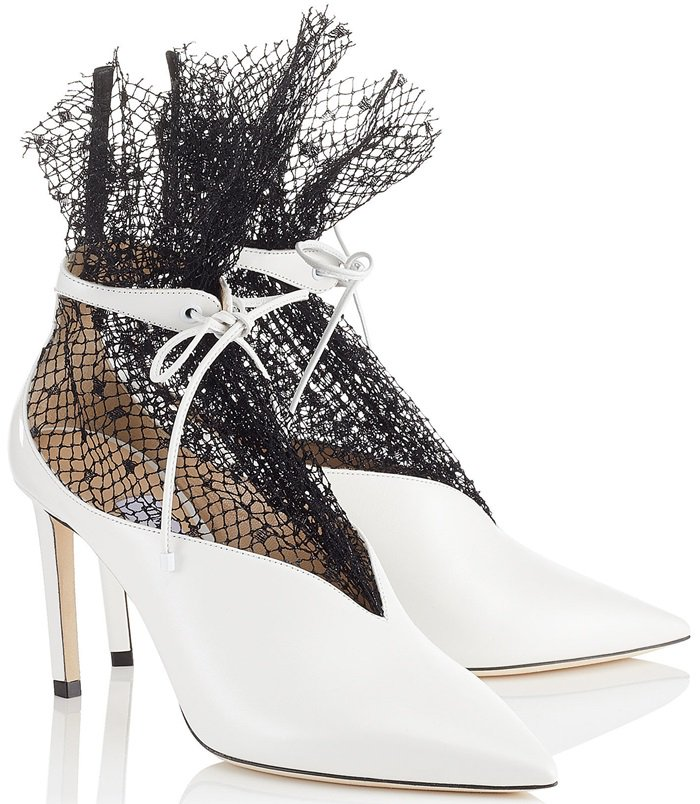 White Leanne Calf Leather Booties