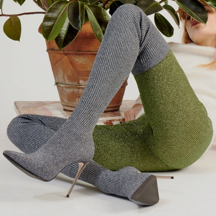 Le Silla Naomi over the knee boot in stretch knitted lurex