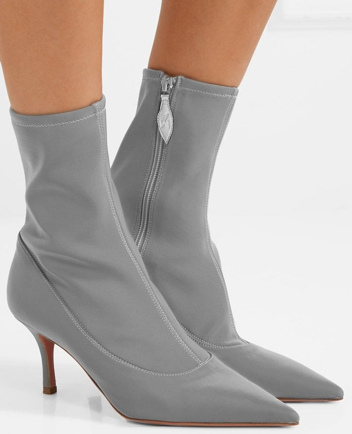 Gray 'Lydia' reflective stretch-knit sock boots