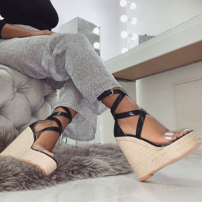 Malaya Lace Up Espadrille Wedges