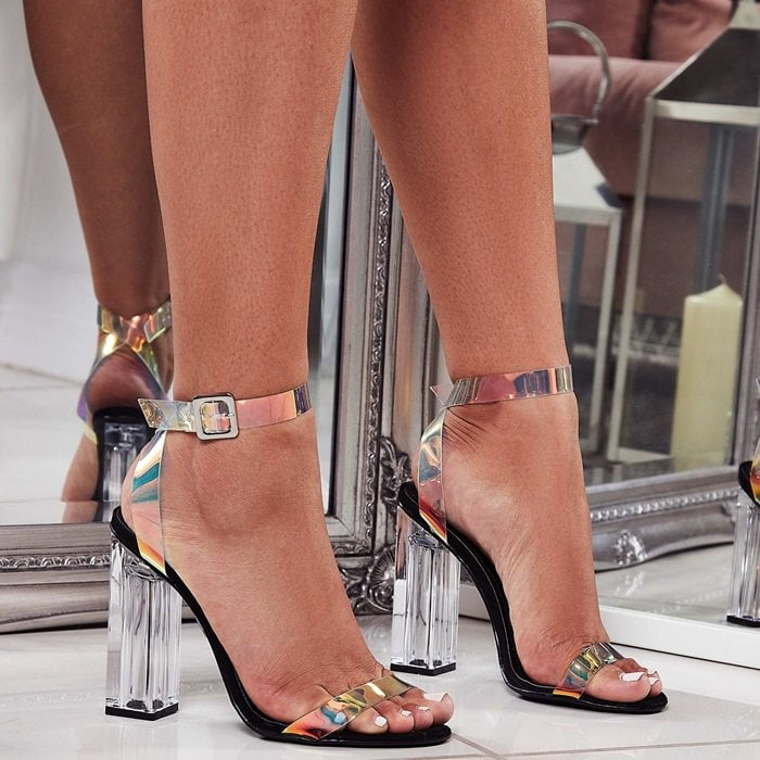 7ce92ae4538 Mercie Barely There Perspex Block Heels. Mercie Barely There Perspex Block EGO  Shoes