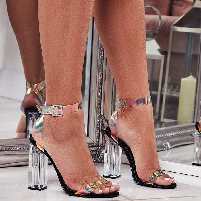 Mercie Barely There Perspex Block Heels