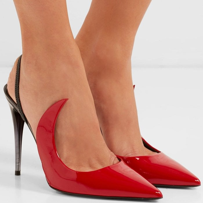Naked Ala two-tone patent-leather slingback pumps