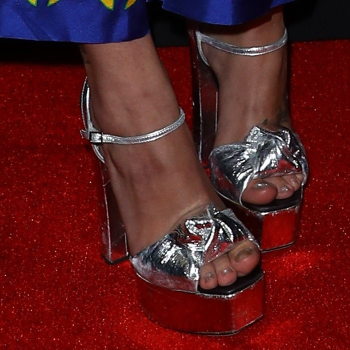 Paris Jackson shows off her feet in silver Barbra platform sandals from Giuseppe Zanotti