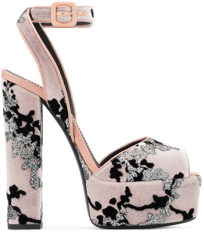 Pink Velvet Betty Sandals With Platform