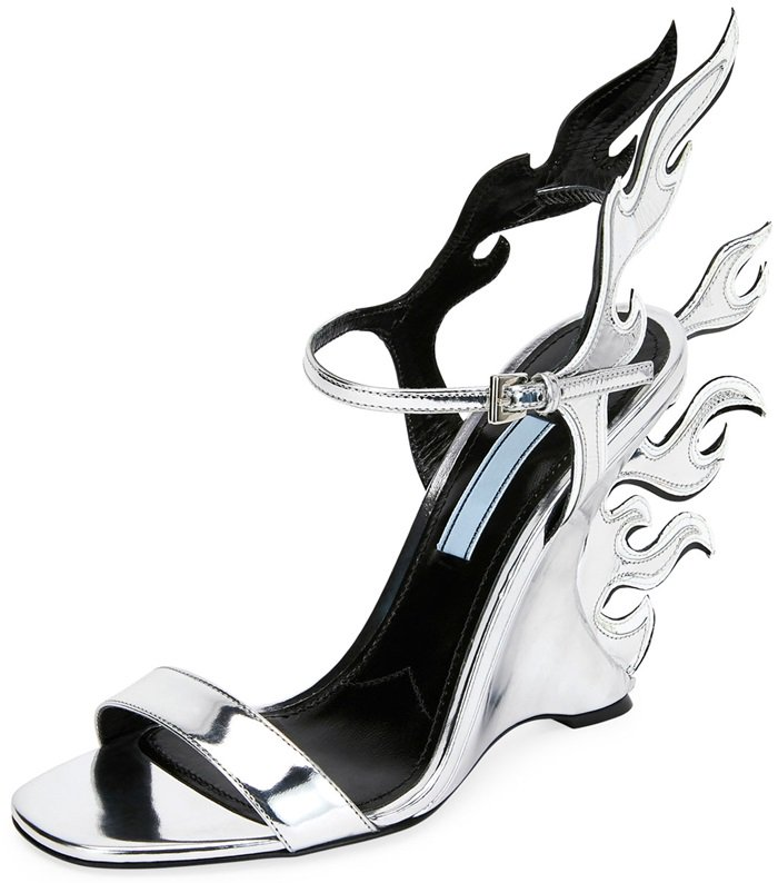 Prada Flame Patent Leather Wedge Sandals
