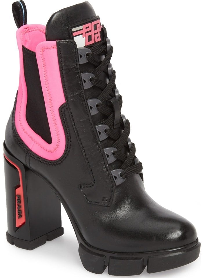 Prada Hiking-Style Colorblock Ankle Boots