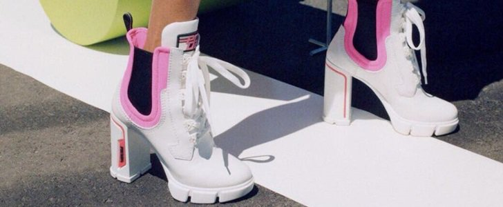 Prada Hiking-Style Colorblock Ankle Boots in White/Rosa and Black/Rosa
