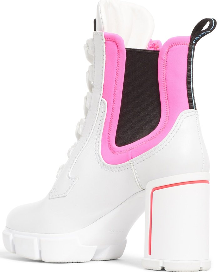 Prada hiking-style ankle boot in vitello leather and colorblock stretch neoprene