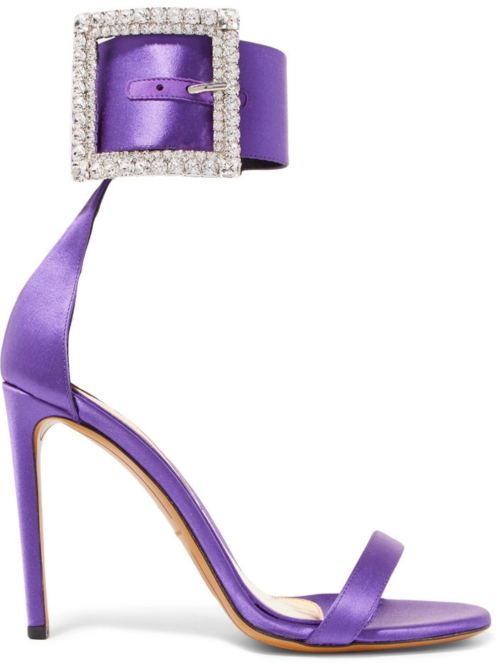 Exuding '80s glamour, they've been made in Italy from purple satin and feature a glistening Swarovski crystal-embellished buckle