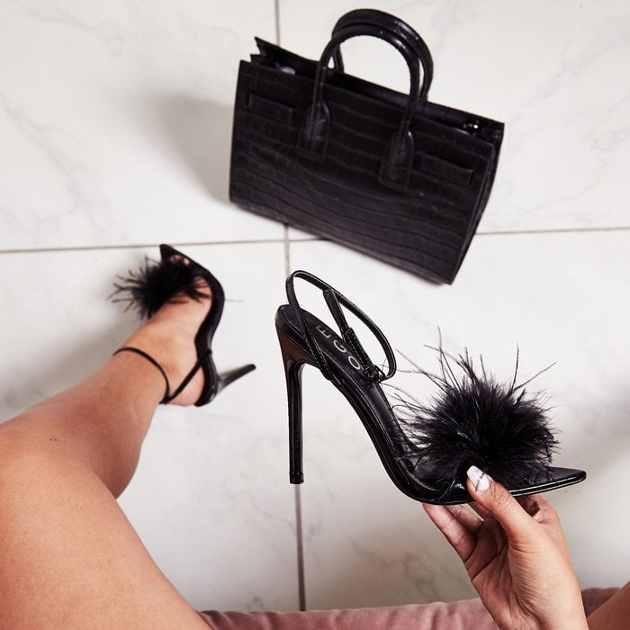 Life's too short to wear boring shoes, so step out in something a little different in our fluffy Rae heels featuring a killer stiletto heel and a thin strap