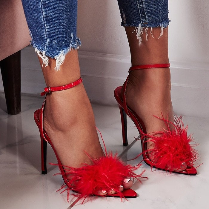 Rae Faux Feather Fluffy Heels