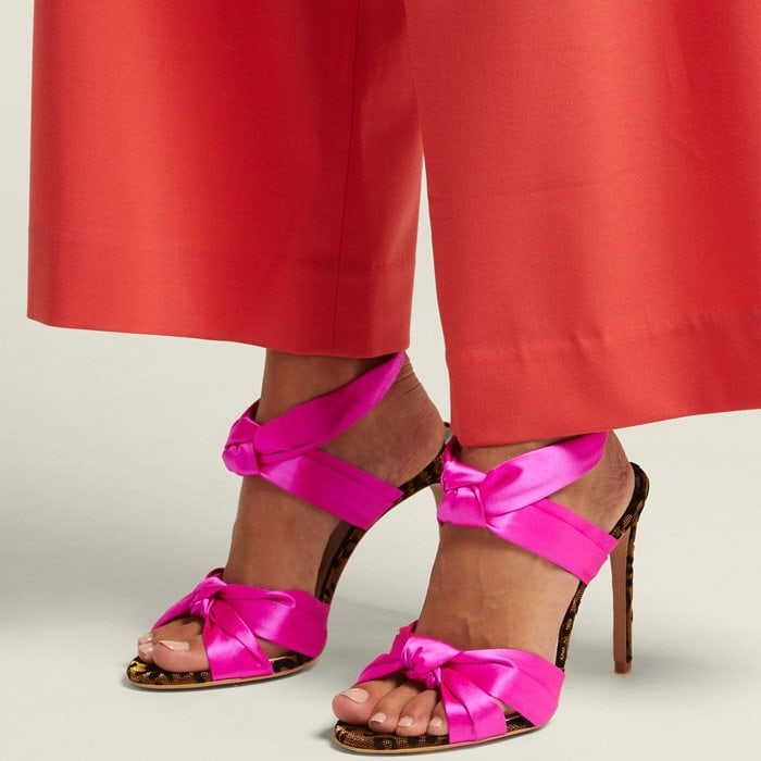 Sophia Webster's Violette sandals were designed to make a head-turning statement in fuchsia pink satin with leopard-printed velvet details