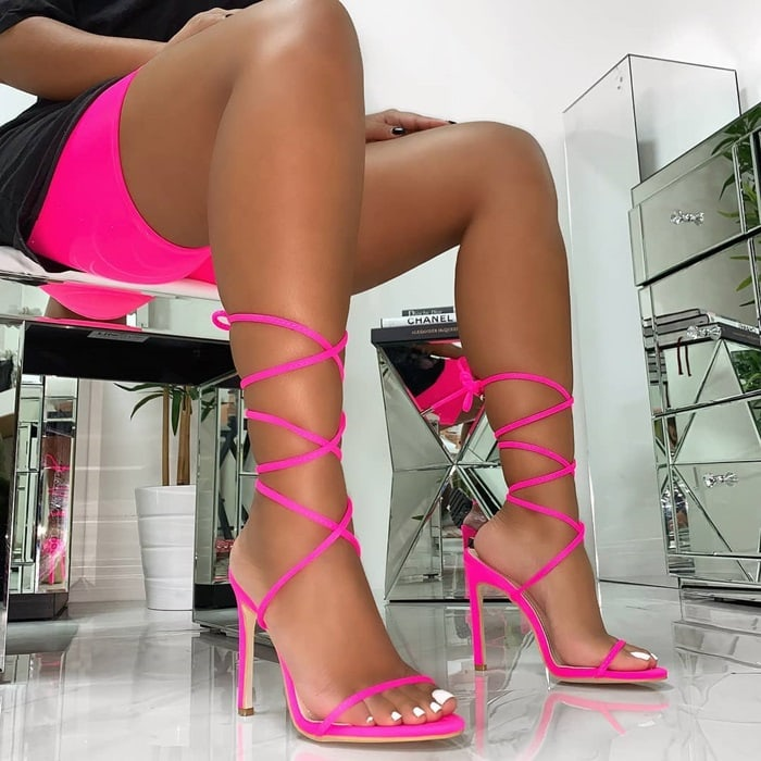 Shayla Lace Up Stiletto Heels