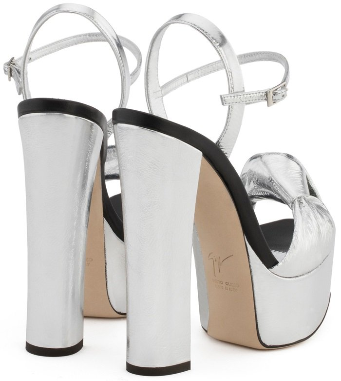 Silver-toned leather Barbra sandals featuring an open toe, a knot detail, a branded insole, a platform sole and a high block heel.