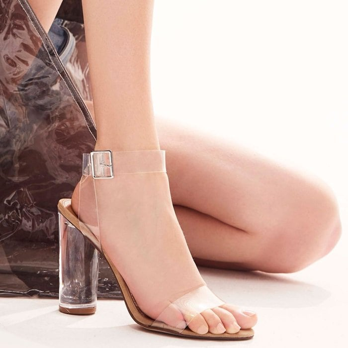 4074360983a Pretty Feet in Clearer Column Heel Sandals by Steve Madden