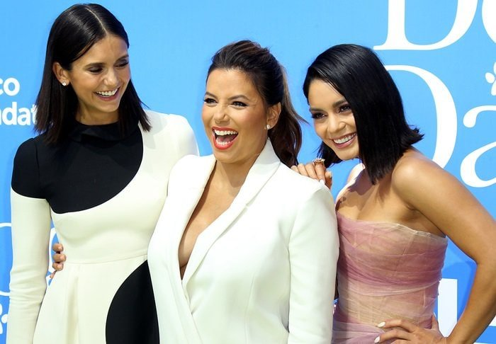 Co-stars Nina Dobrev, Eva Longoria, and Vanessa Hudgens dressed up for the premiere of their new movie Dog Days at the Westfield Century City Theater in Century City, California, on August 5, 2018