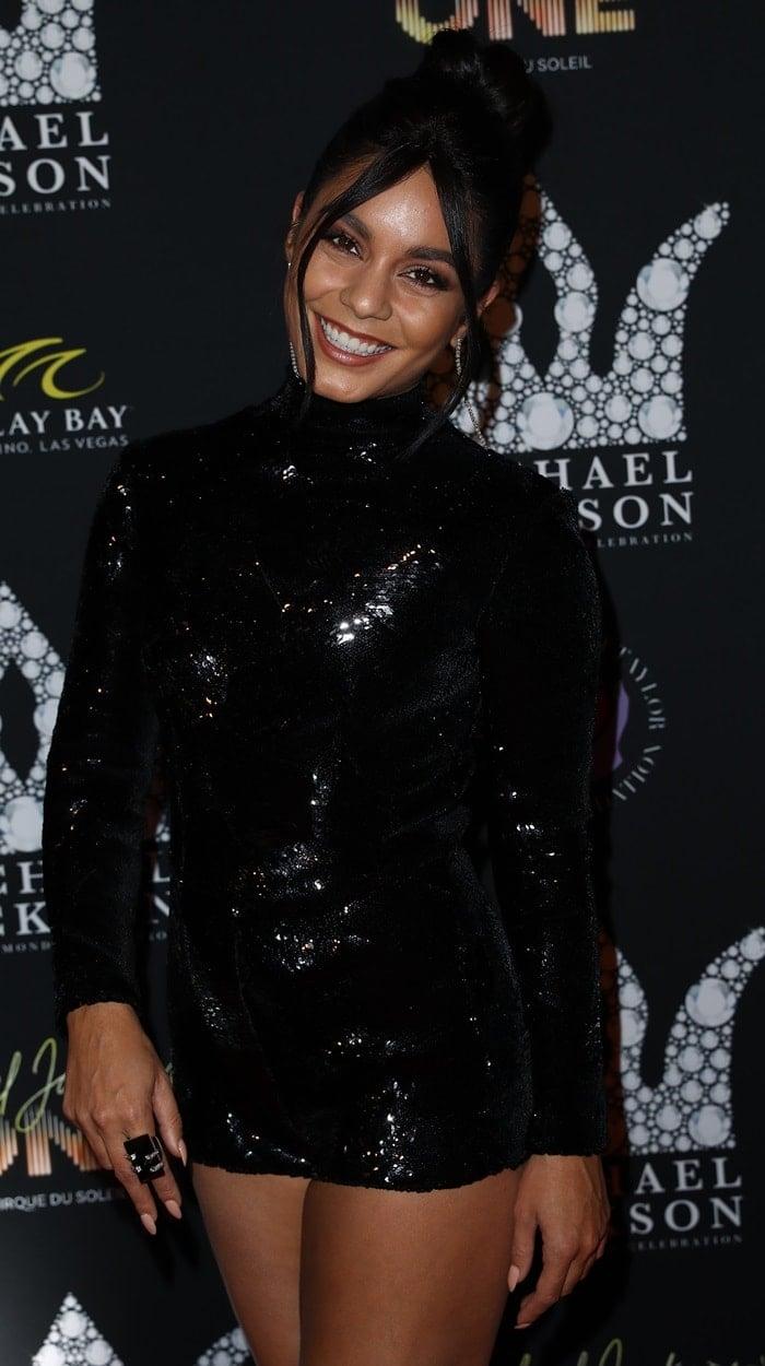 Vanessa Hudgens in a sparkling minidress at the Michael Jackson Diamond Birthday Celebration at the Mandalay Bay Resort & Casino in Las Vegas on August 29, 2018