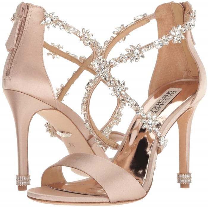 Stand out in these show-stopping evening shoes with crystal embellished asymmetrical evening strap
